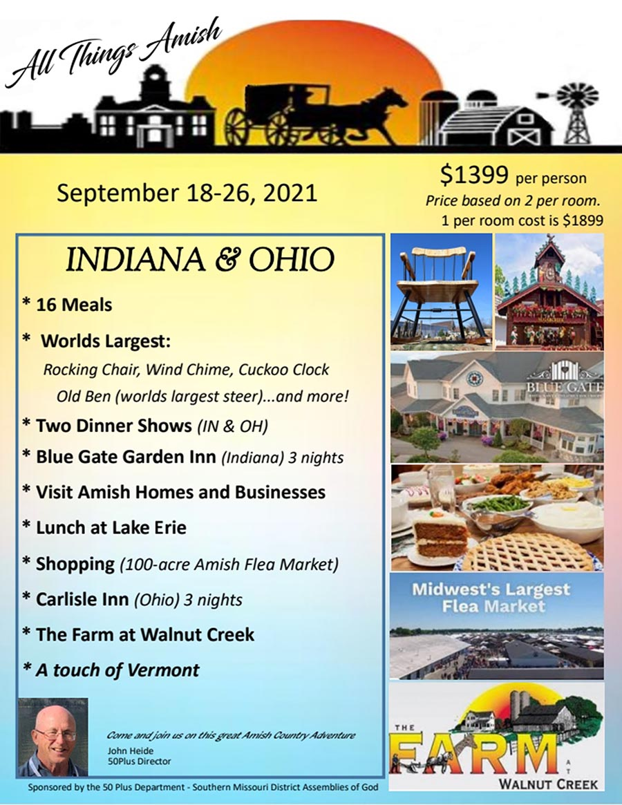 50 plus adult ministries Indiana and Ohio Bus Tour